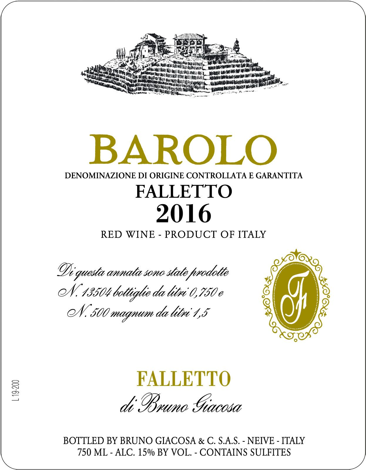 Bruno Giacosa Barolo Falletto 2016  Front Label
