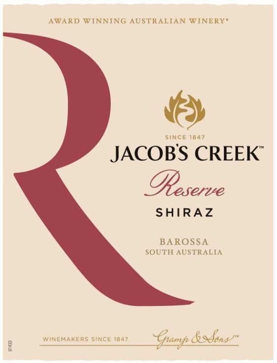 Jacob's Creek Reserve Shiraz 2018  Front Label