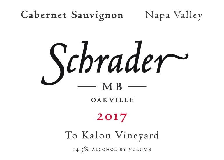 Schrader MB To Kalon Vineyard Cabernet Sauvignon 2017  Front Label