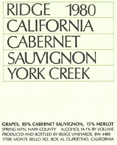 Ridge York Creek Cabernet Sauvignon 1980  Front Label