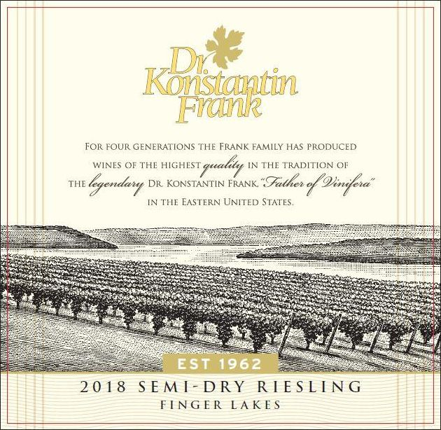 Dr. Konstantin Frank Semi Dry Riesling 2018  Front Label