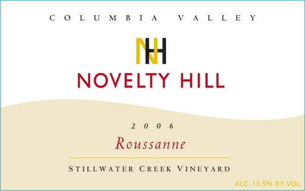 Novelty Hill Stillwater Creek Vineyard Roussanne 2006 Front Label