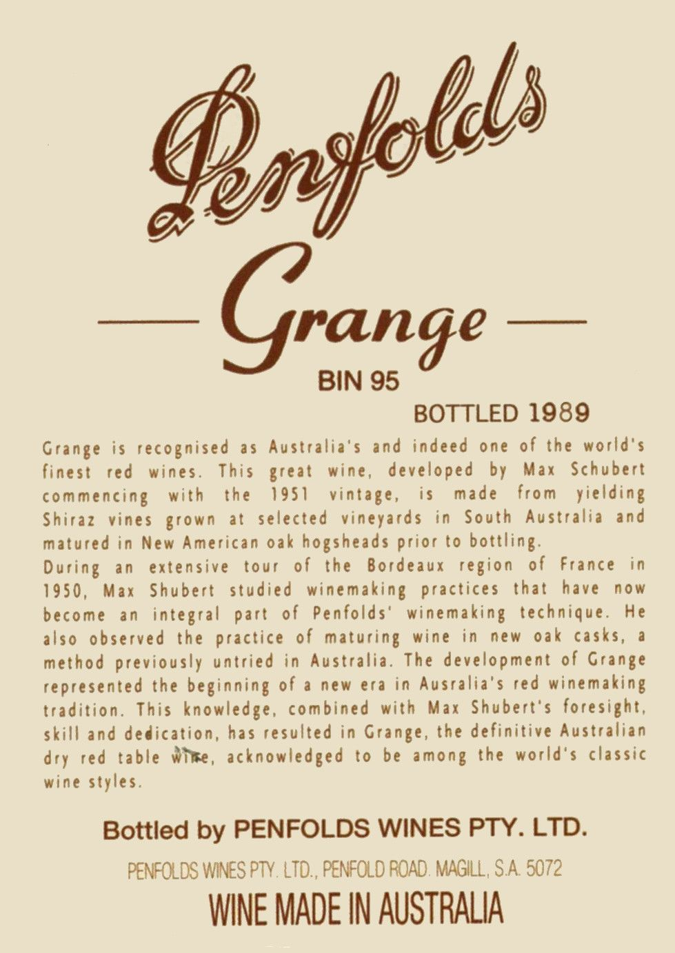 Penfolds Grange 1987 Front Label