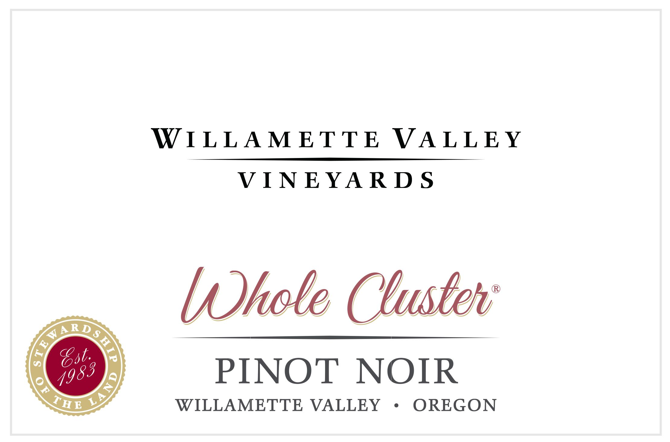 Willamette Valley Vineyards Whole Cluster Pinot Noir 2019  Front Label