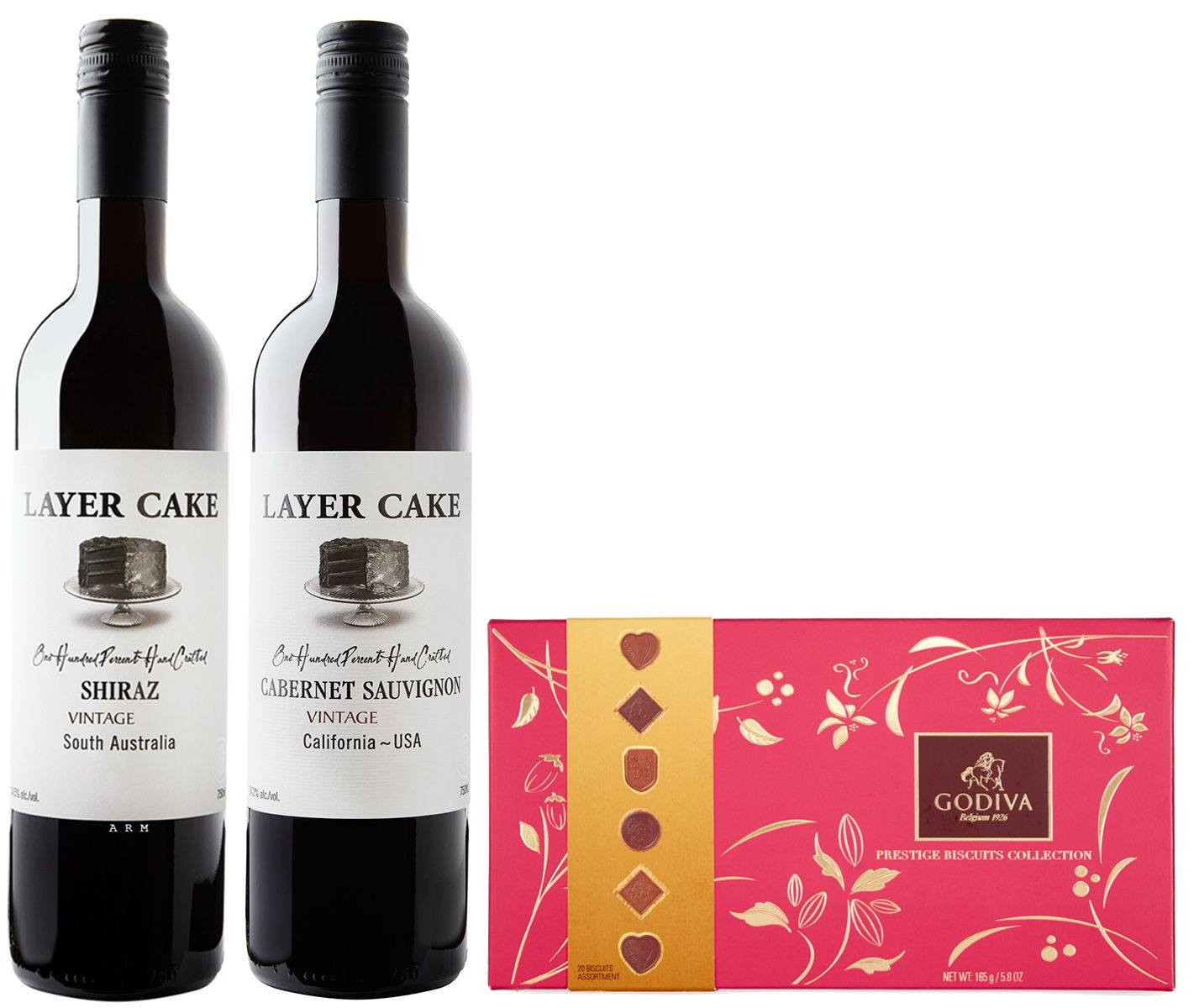 wine.com Reds & Godiva Chocolate Biscuits Gift Set Gift Product Image