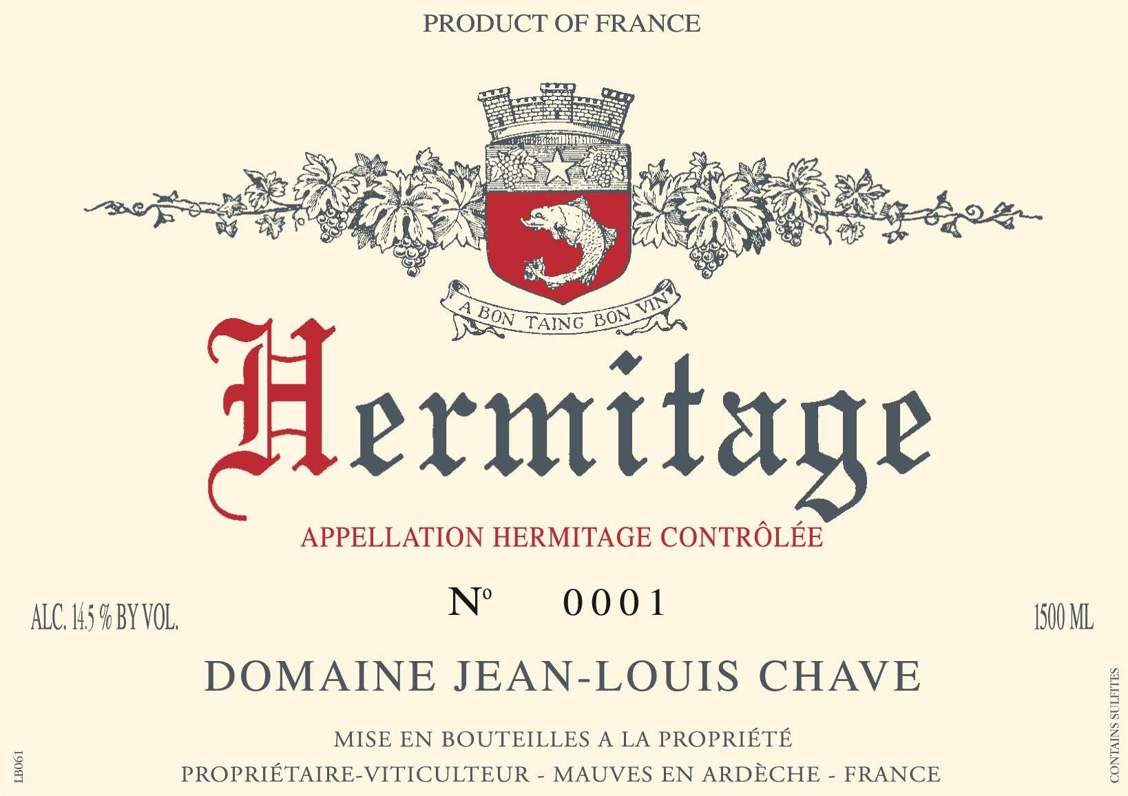 Jean-Louis Chave Hermitage Blanc 2015 Front Label