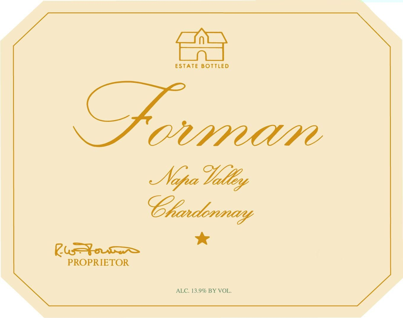 Forman Napa Valley Chardonnay 2018  Front Label