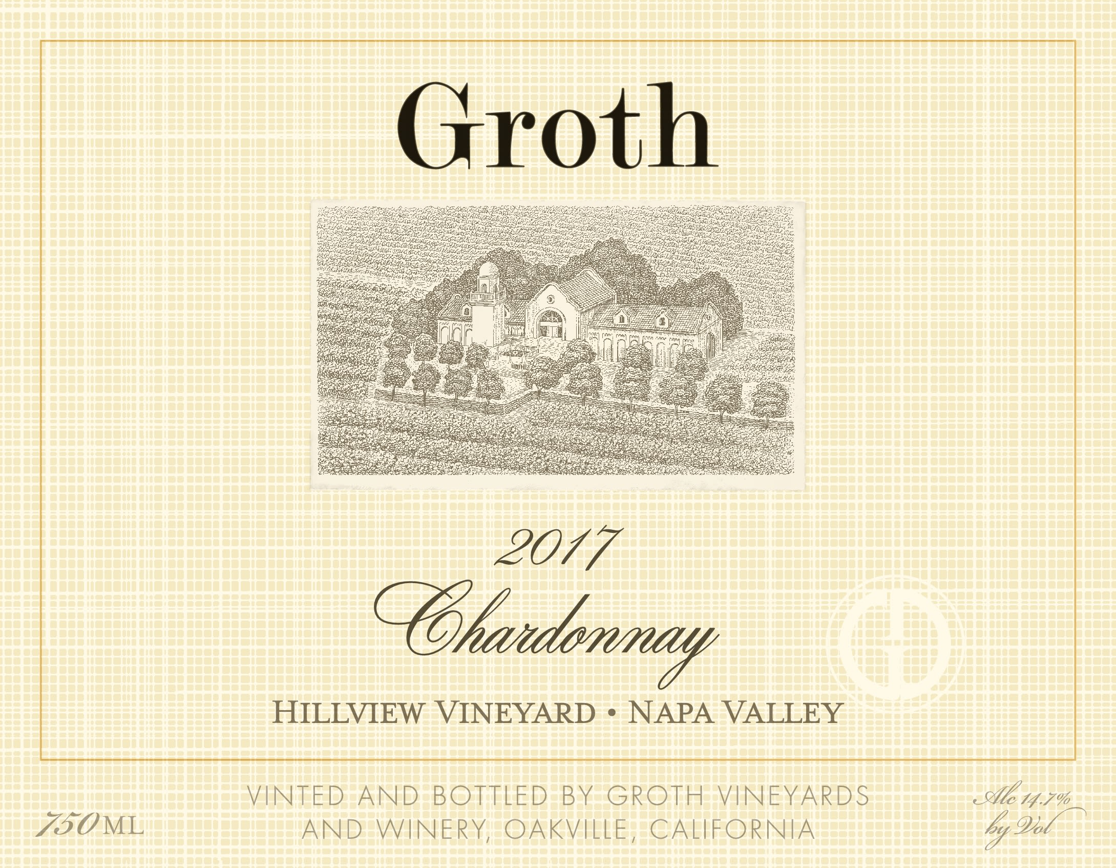 Groth Hillview Vineyard Chardonnay 2017 Front Label