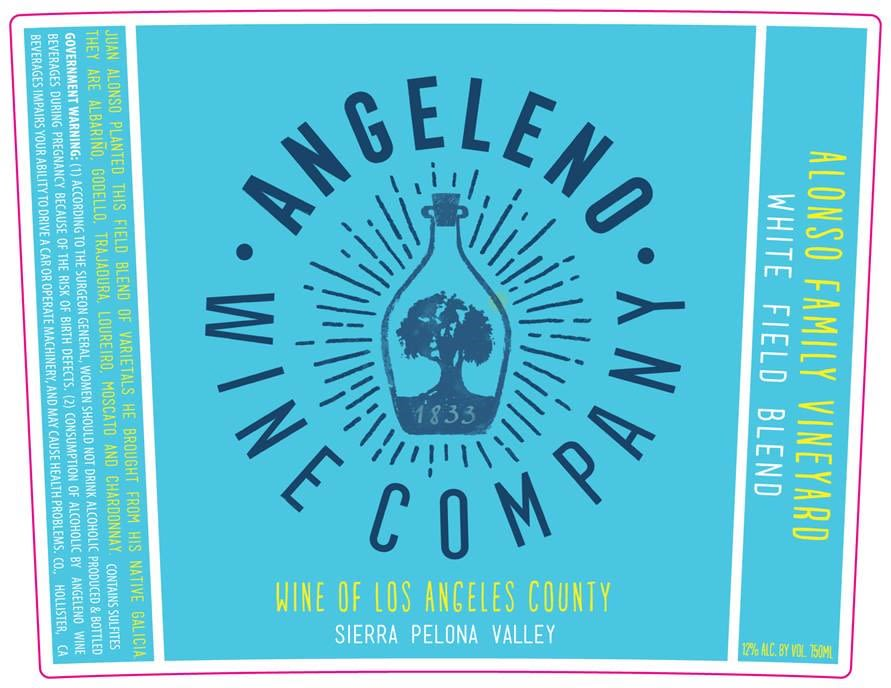 Angeleno Wine Co White Field Blend 2017  Front Label