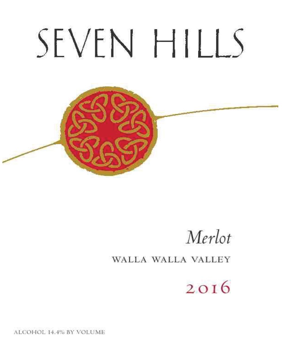 Seven Hills Winery Walla Walla Merlot 2016  Front Label