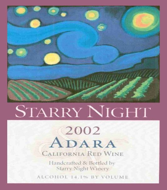 Starry Night Winery California Adara 2002  Front Label