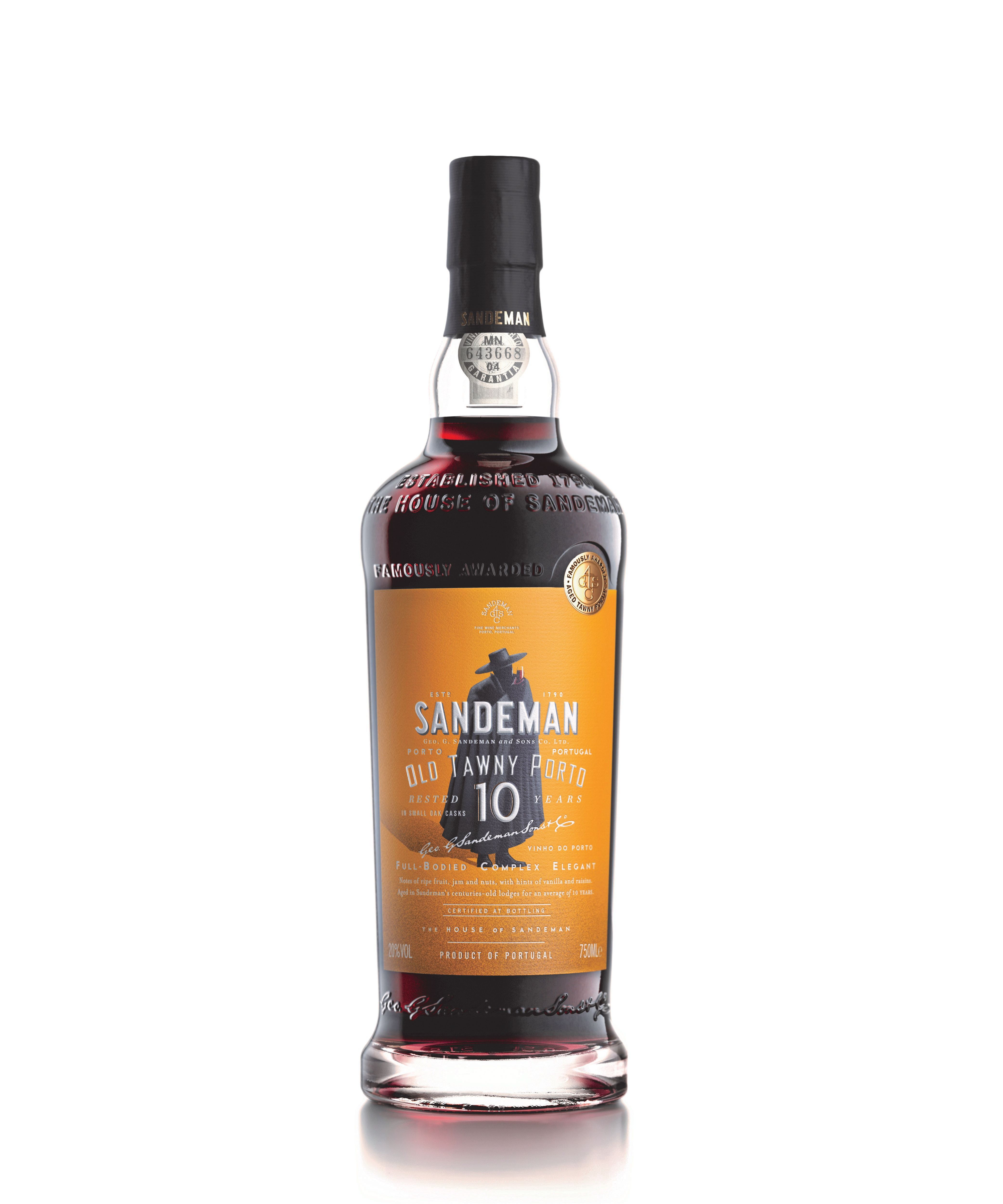 Sandeman 10 Year Old Tawny  Front Bottle Shot