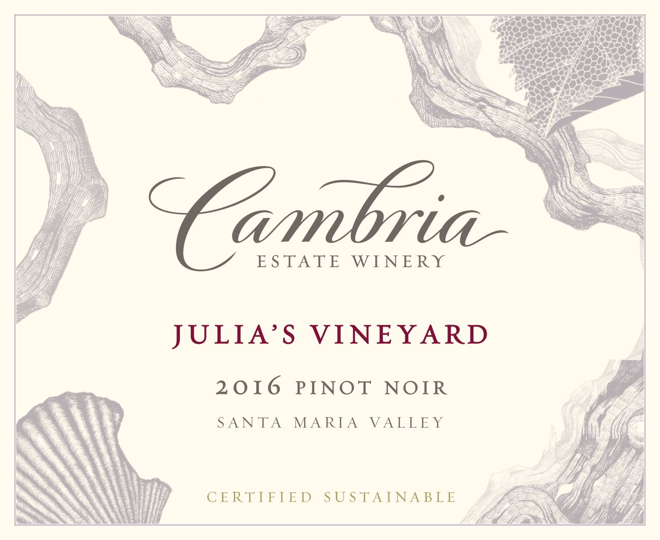 Cambria Julia's Vineyard Pinot Noir 2016 Front Label
