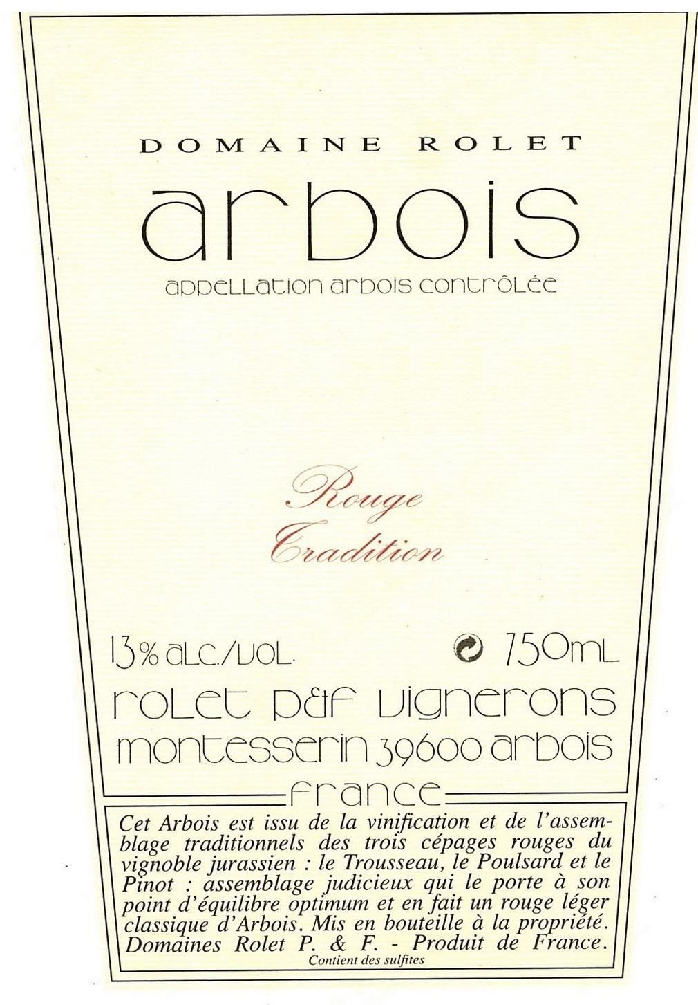 Domaine Rolet Arbois Rouge Tradition 2018  Front Label