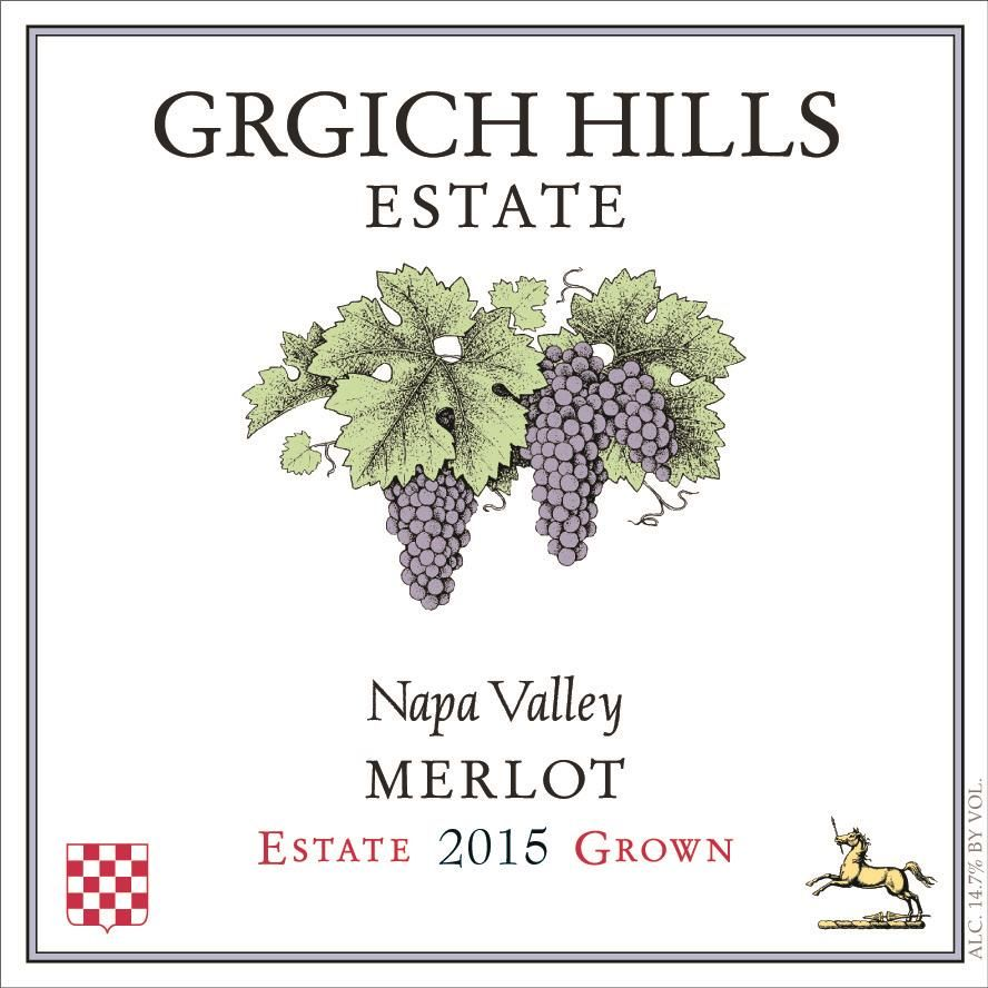 Grgich Hills Estate Merlot 2015 Front Label