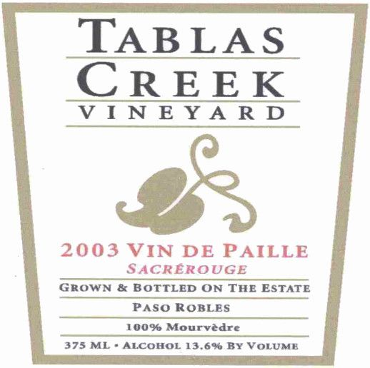 Tablas Creek Vin de Paille Sacrerouge Mourvedre 2003  Front Label