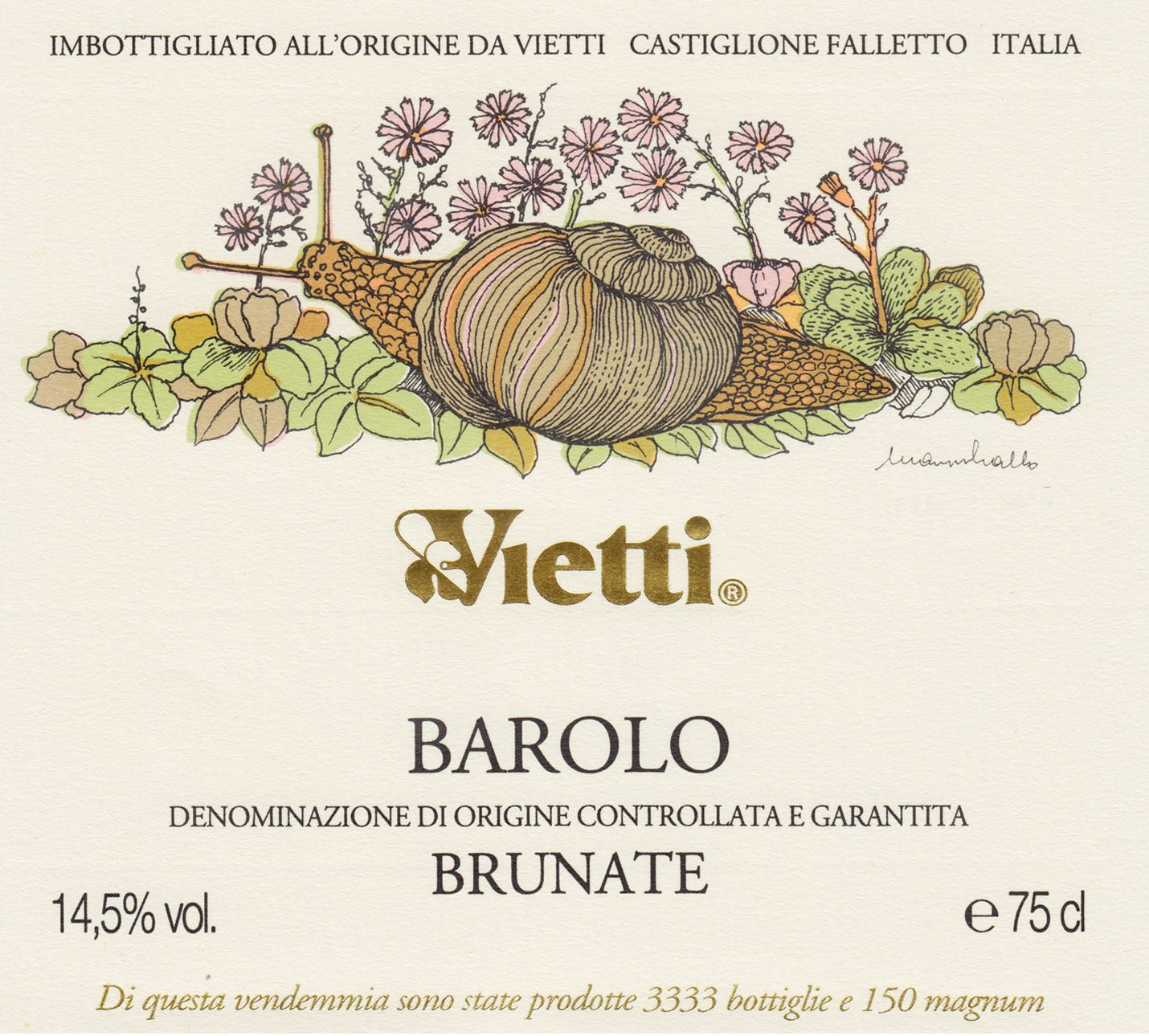 Vietti Barolo Brunate 2015  Front Label