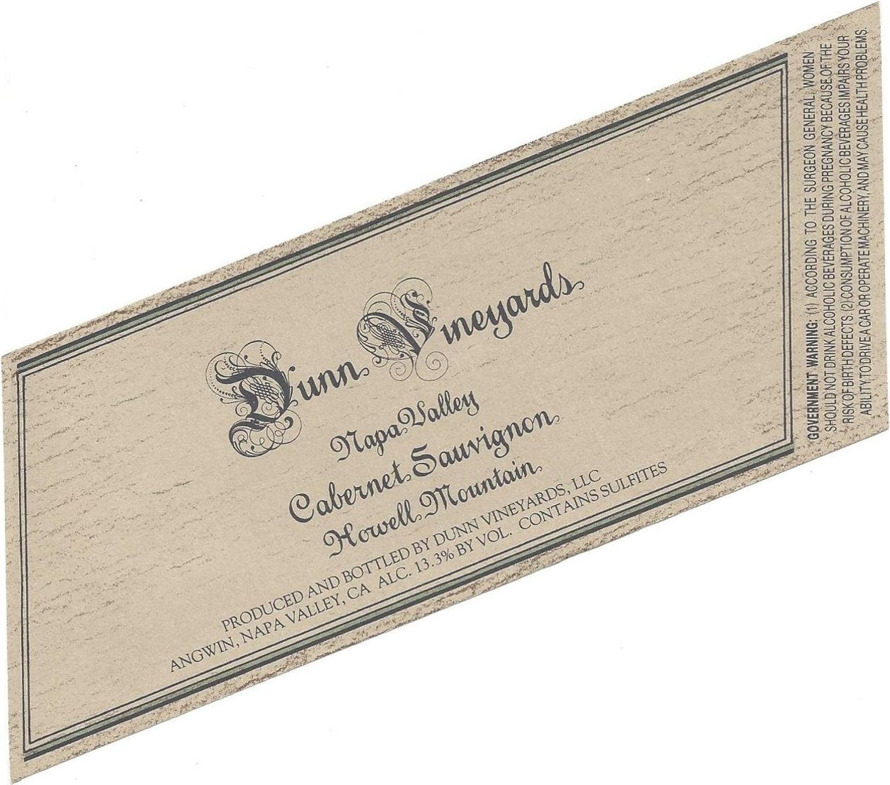 Dunn Howell Mountain Cabernet Sauvignon 2015  Front Label