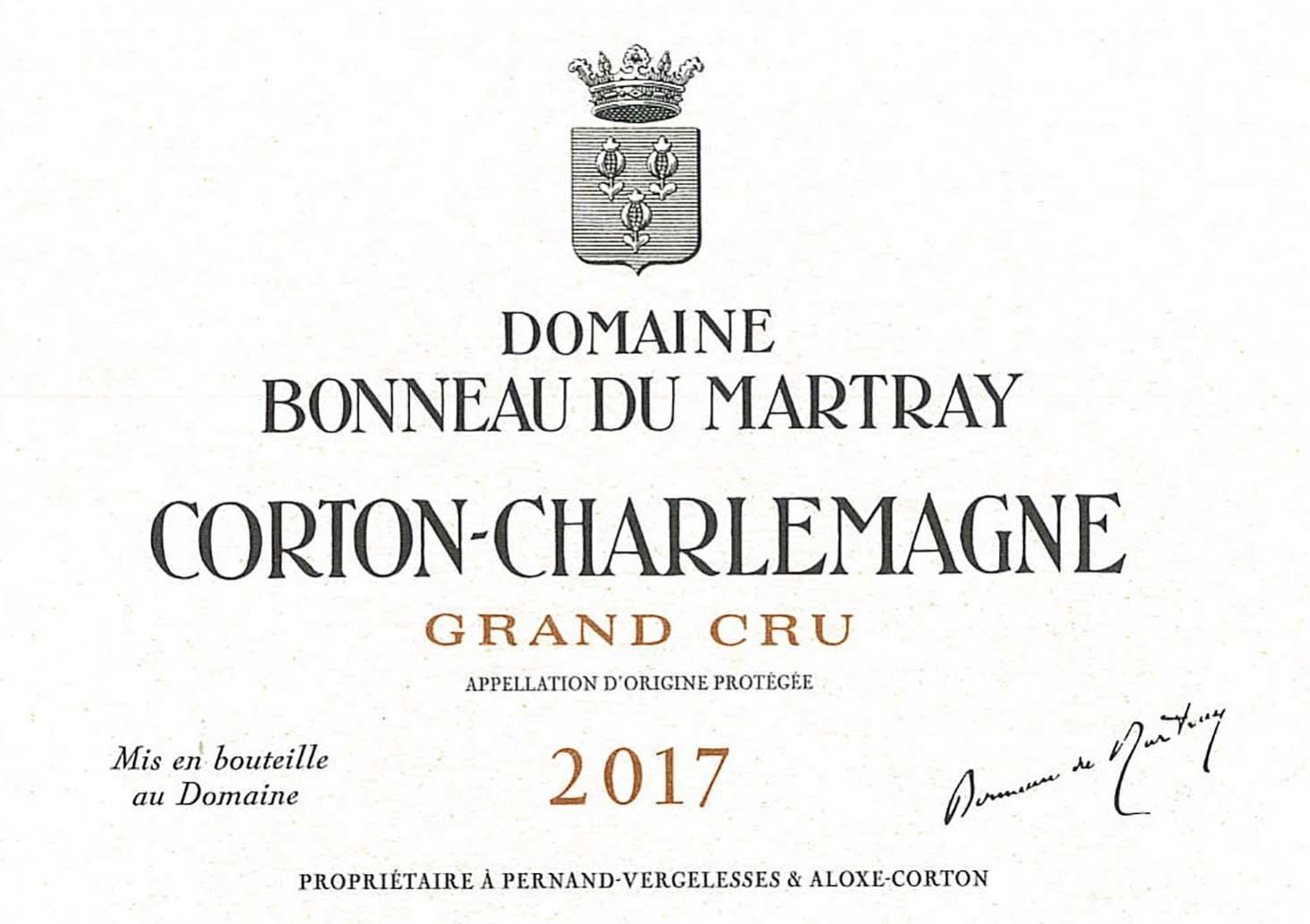 Bonneau du Martray Corton-Charlemagne Grand Cru (375ML half-bottle) 2017  Front Label