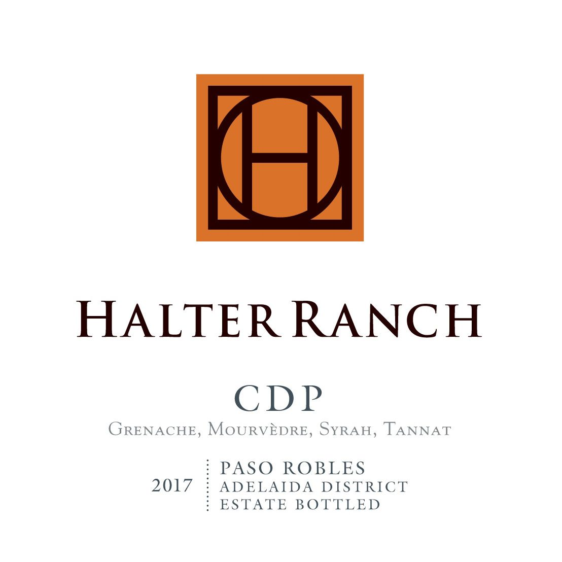 Halter Ranch Vineyard Cotes de Paso 2017  Front Label