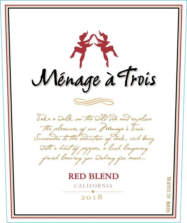 Menage a Trois Red Blend 2018  Front Label