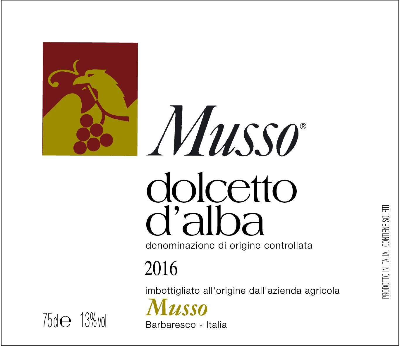 Musso Dolcetto d'Alba 2016  Front Label