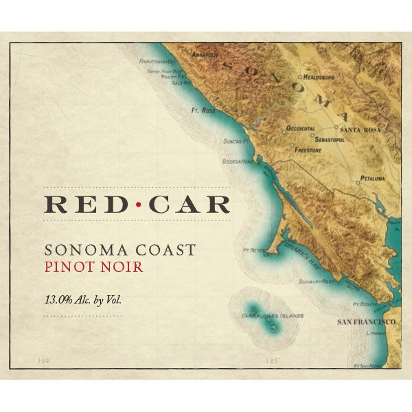 Red Car Sonoma Coast Pinot Noir 2016  Front Label