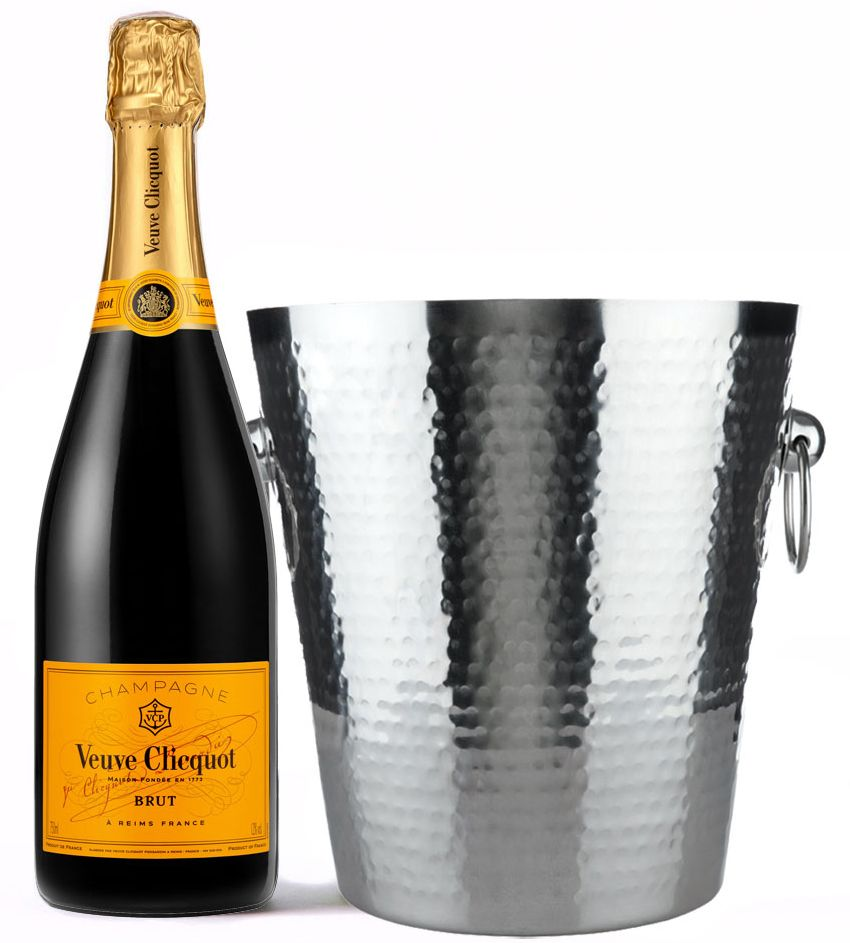 wine.com Veuve Clicquot & Stainless Steel Hammered Ice Bucket  Gift Product Image