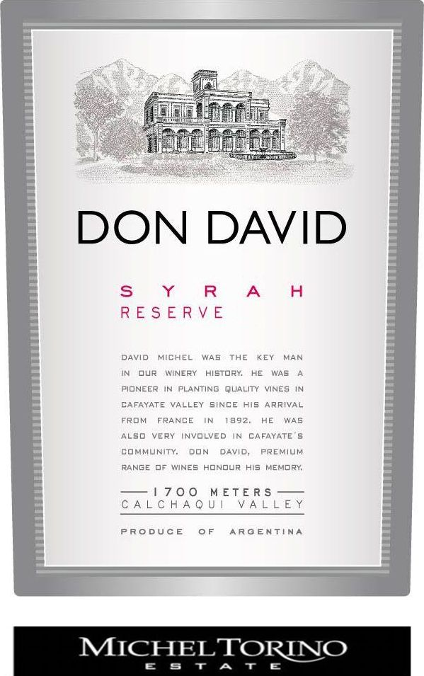 El Esteco Don David Reserve Syrah 2011  Front Label