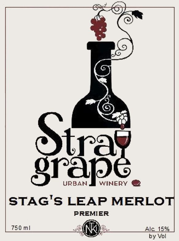 Stray Grape Urban Winery Stag's Leap Merlot  Front Label