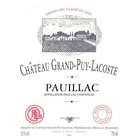 Chateau Grand-Puy-Lacoste  1999 Front Label