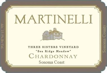 Martinelli Three Sisters Vineyard Chardonnay 2016  Front Label