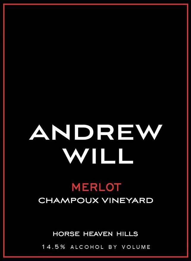 Andrew Will Winery Champoux Vineyard Horse Heaven Hills Merlot 2017  Front Label