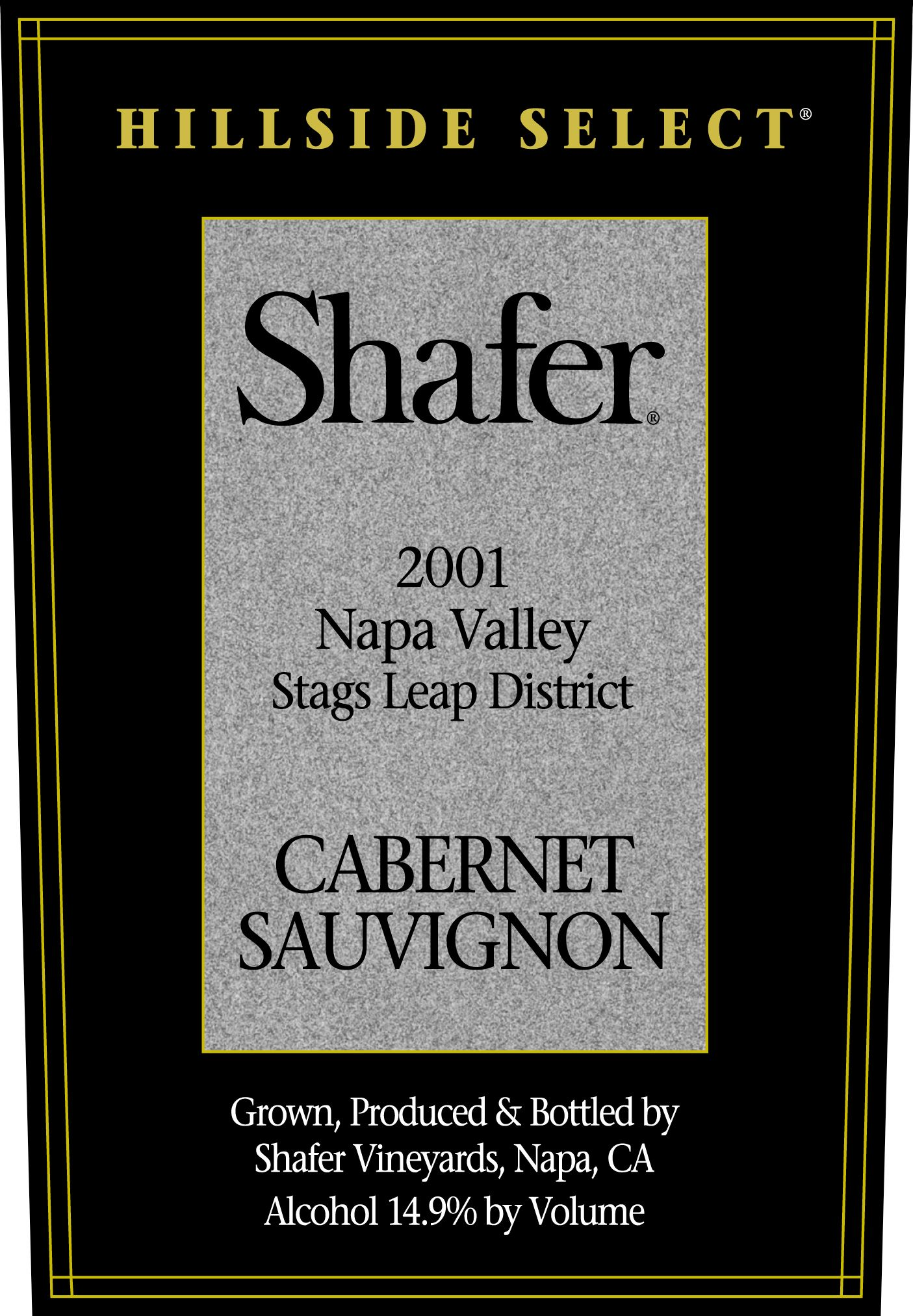 Shafer Hillside Select Cabernet Sauvignon 2001  Front Label