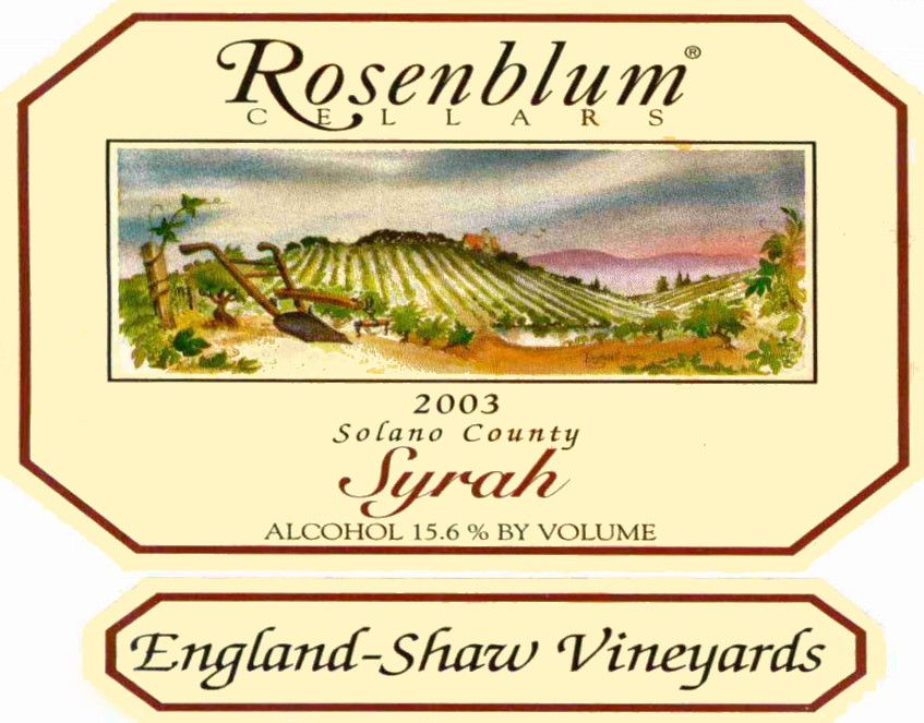 Rosenblum Cellars England Shaw Vineyard Syrah 2003  Front Label