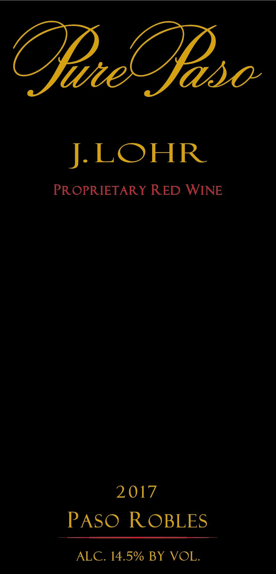 J. Lohr Pure Paso Proprietary Red 2017  Front Label