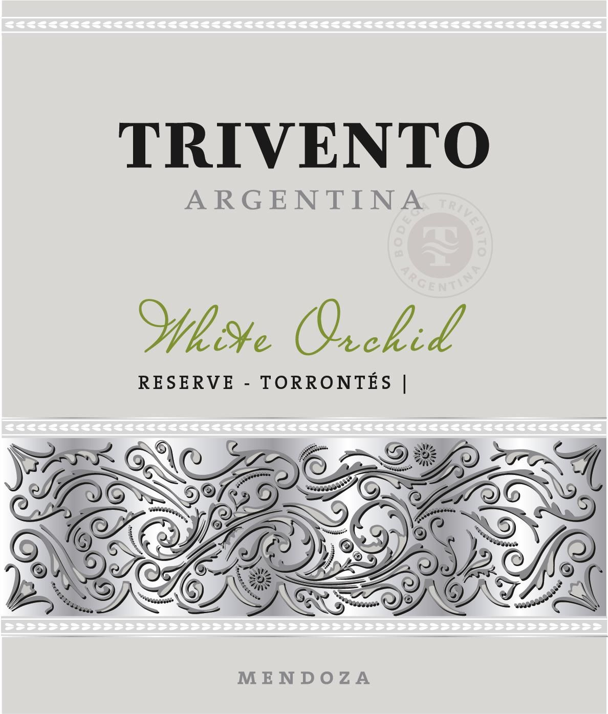 Trivento White Orchid Reserve Torrontes 2017 Front Label