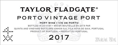 Taylor Fladgate Vintage Port (375ML half-bottle) 2017  Front Label
