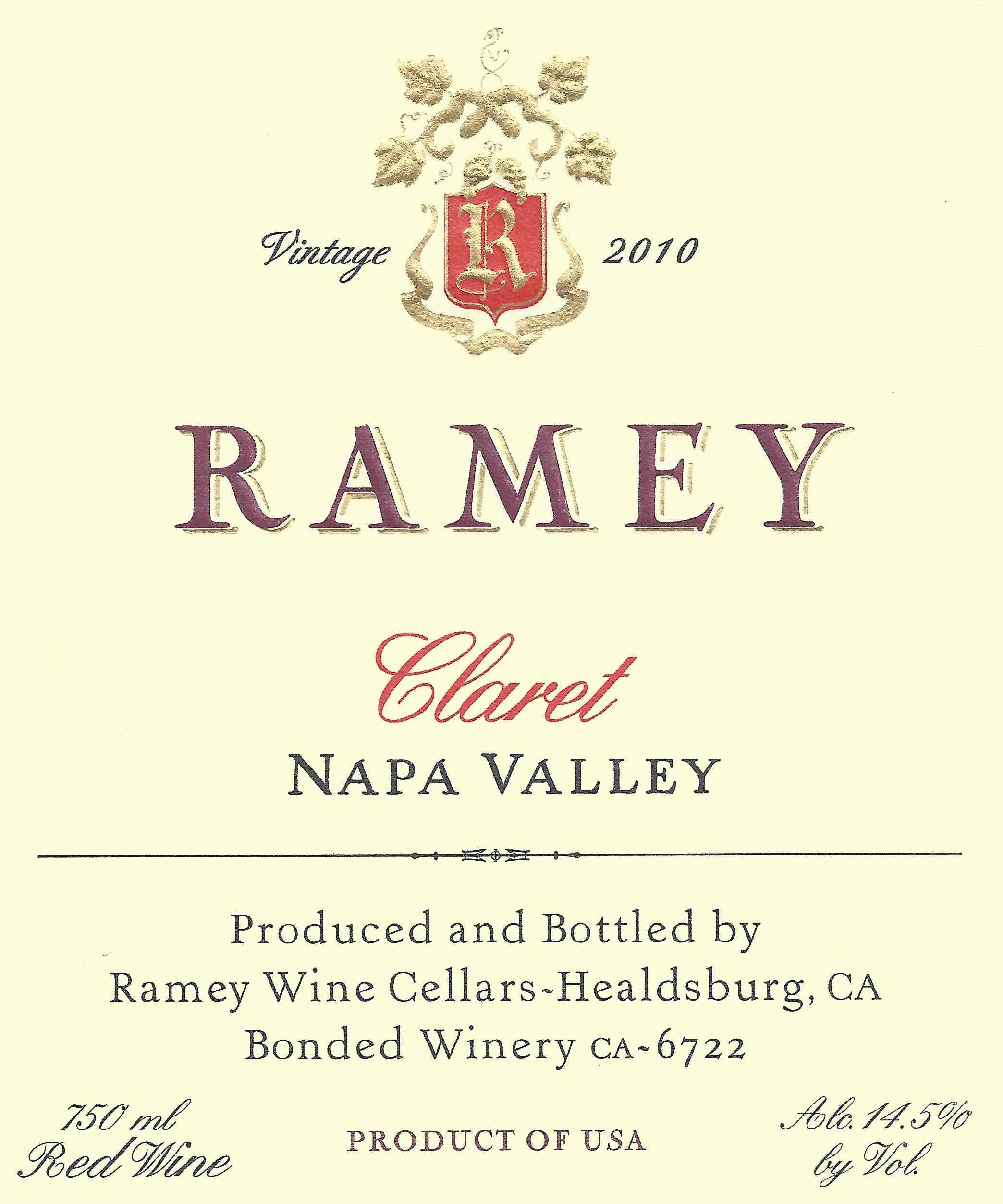 Ramey Napa Valley Claret 2010  Front Label
