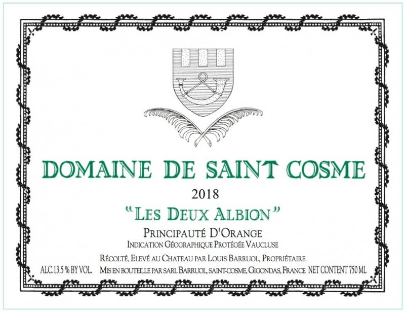 Chateau de Saint Cosme D'Orange Les Deux Albions Blanc 2018  Front Label