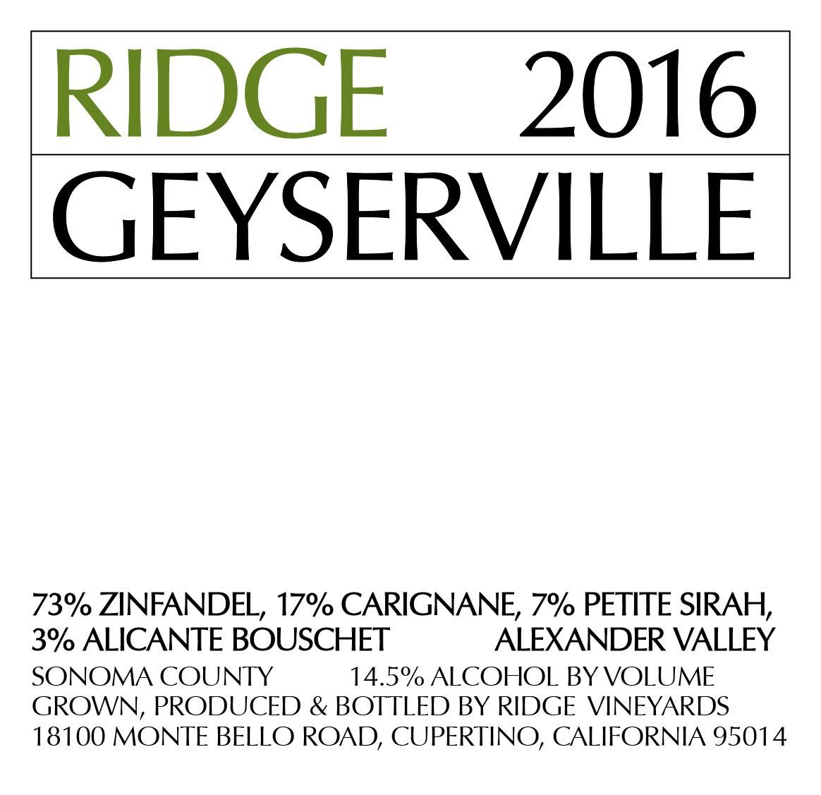 Ridge Geyserville (375ML half-bottle) 2016 Front Label