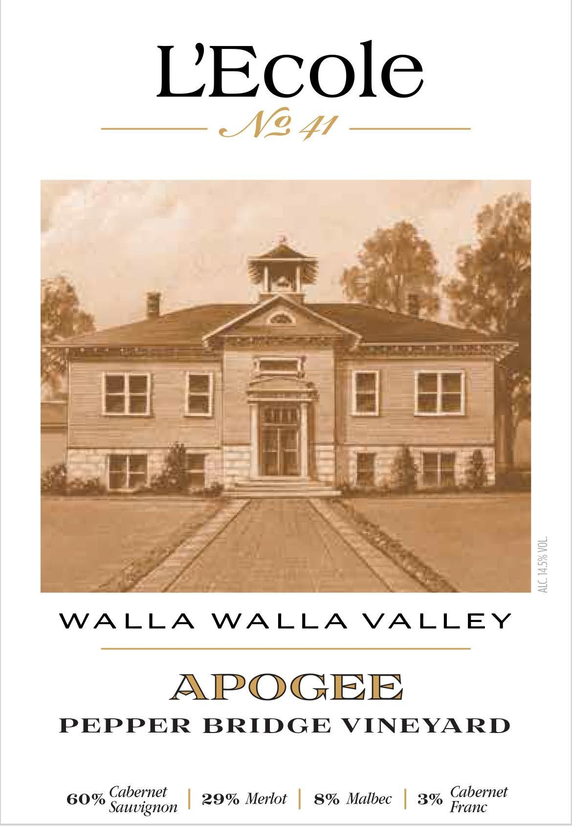 L'Ecole 41 Pepper Bridge Vineyard Apogee 2015 Front Label