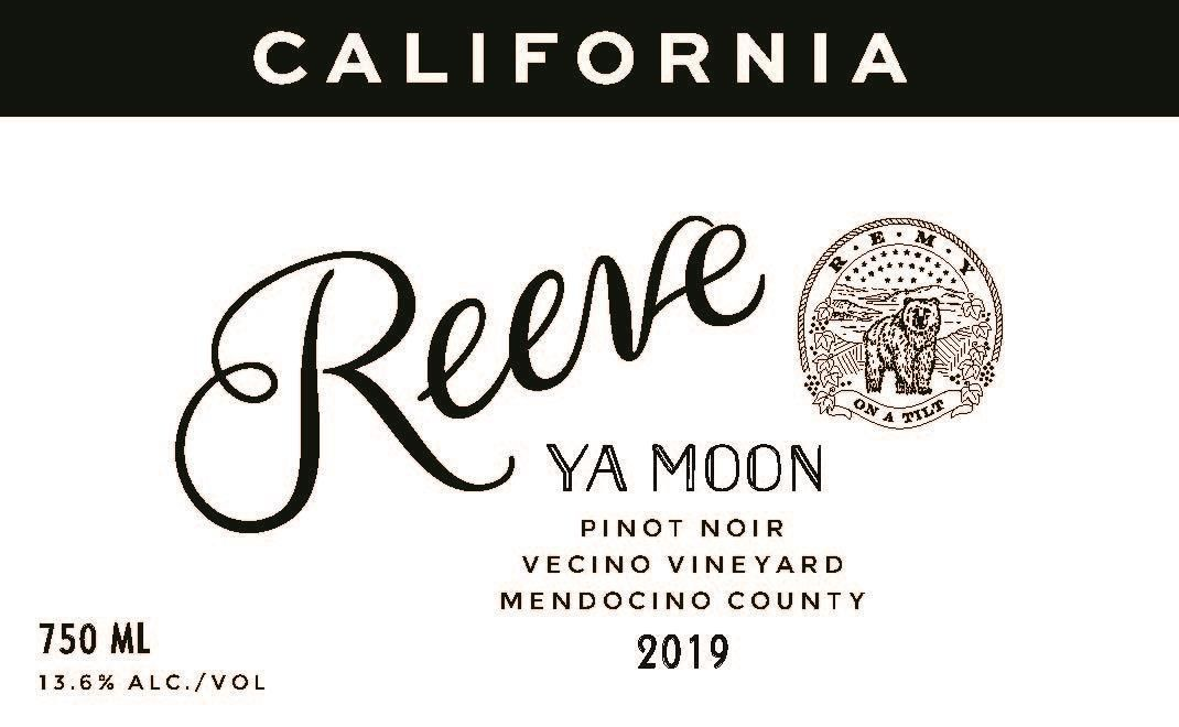 Reeve Ya Moon Pinot Noir 2019  Front Label