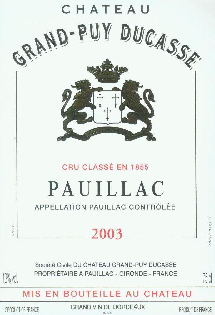 Chateau Grand-Puy-Ducasse  2003  Front Label