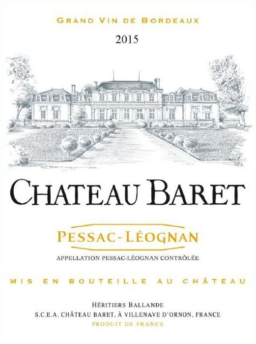 Chateau Baret  2015 Front Label