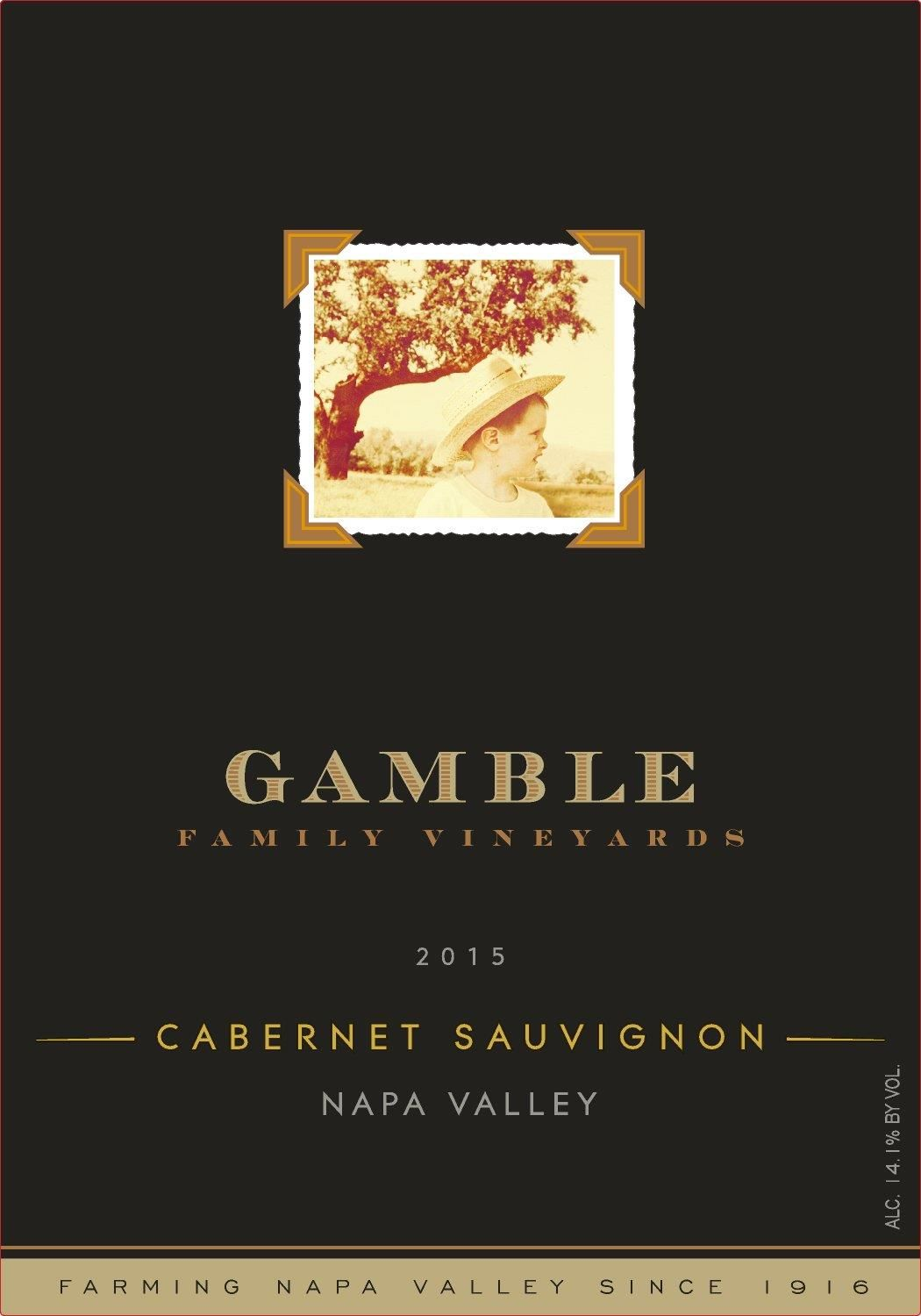 Gamble Family Vineyards Napa Valley Cabernet Sauvignon 2015 Front Label