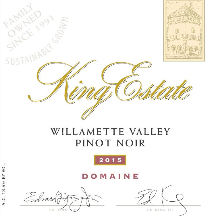 King Estate Domaine Pinot Noir 2015  Front Label