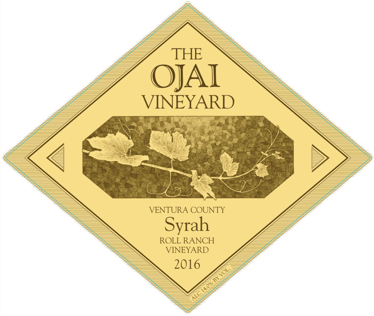 Ojai Roll Ranch Syrah 2016  Front Label