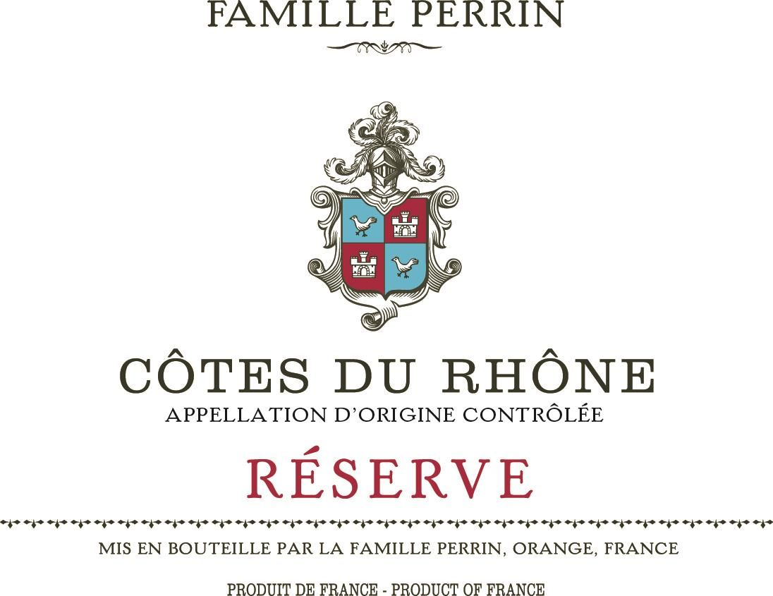 Famille Perrin Reserve Cotes du Rhone Rouge 2017 Front Label