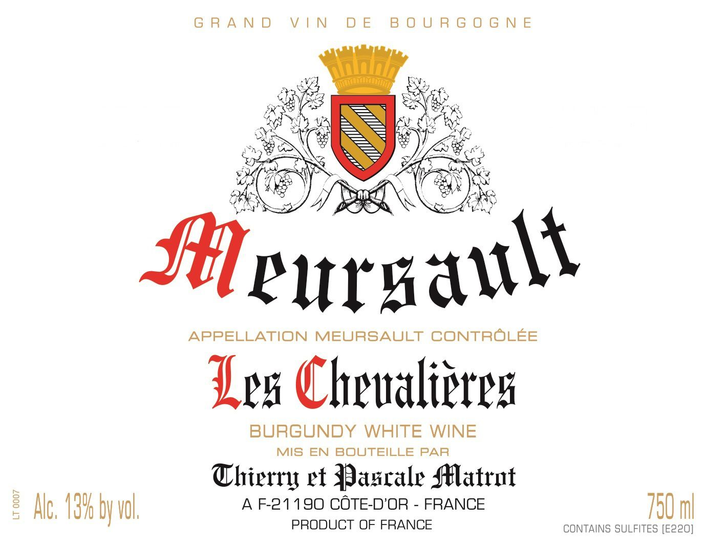 Domaine Matrot Meursault Les Chevalieres (375ML half-bottle) 2017  Front Label